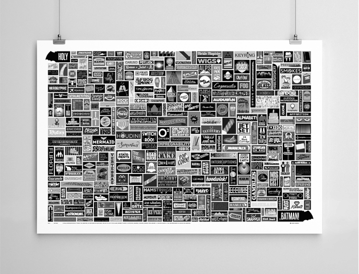 Screen print poster containing all 356 of Robin's exclamations, for art gallery show.